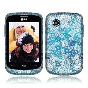 NextKin LG 306G Flexible Slim Silicone TPU Skin Gel Soft Protector Cover Case - Teal White Mandala