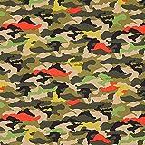 Fabulous Fabrics Baumwolljersey Camouflage – dunkeloliv — Meterware ab 0,5m — Oeko-Tex Standard 100 — zum Nähen von Kinderbekleidung und Tops und Shirts