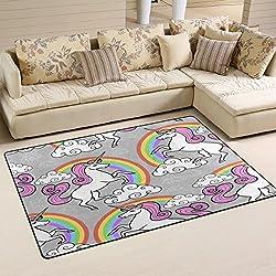 Use7 Alfombra de Unicornio Gris arcoíris Antideslizante Alfombrilla de Suelo felpudos para niños Sala de Estar Dormitorio, Tela,, 50 x 80 cm(1.7' x 2.6' ft)