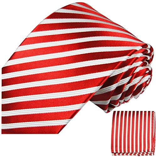 Rote Krawatten Set 2tlg schwarz 100% Seidenkrawatte (extra lang 165cm) + Einstecktuch by Paul Malone -
