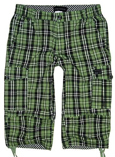 BLS-Fashion Herren Karo Bermuda Cargo Hose, Shorts, QS-1306, hellgrün kariert, Gr.L