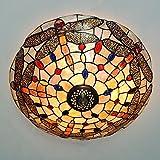 Vintage Tiffany Dragonfly Glasmalerei Deckenleuchte hängende Pendelleuchte (40cm)