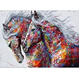 Pengyu DIY 5D Diamant, der Malerei-Kunstharz Stickerei Bilder Arts Craft für Home Wand-Decor Bunten Tiere Flamingo Horse Pattern 11,8 x 15,7, 6872, 30cm x 40cm