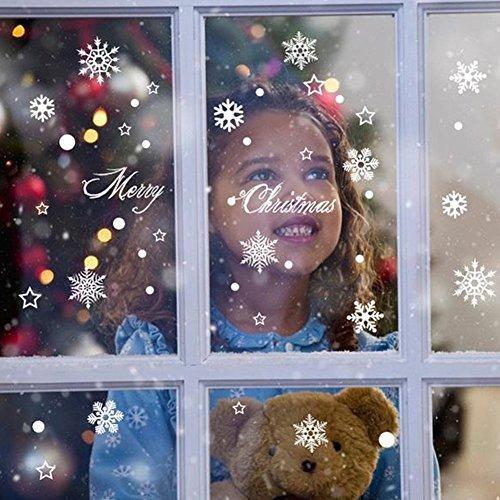 Extsud 2er Weihnachtssticker,Merry Christmas Schaufensterdekoration Wand Fenster Aufkleber Wandkunst Fenster Aufkleber Engel Schneeflocken Weihnachten Xmas Vinyl Aufkleber (Fenster Dekorationen)
