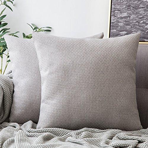 Miulee lino federe cuscini tessuto strutturato in lino finto cuscino decorativo per divano letto auto microfibra con cerniera invisibile 2 pacco 18 * 18inch grigio chiaro