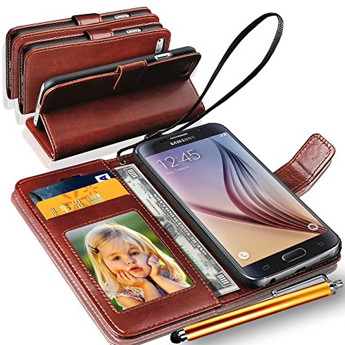Samsung Galaxy J7 - 6 (New 2016 Edition) Rich Leather Stand Wallet Flip Case Cover Book Pouch / Quality Slip Pouch / Soft Phone Bag (Specially Manufactured - Premium Quality) Antique Leather Case With Touch Stylus Pen Brown