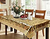 #3: Kuber Industries™ Waterproof Dining Table Cover 6 Seater 60*90 Inches (Exclusive Shining Golden Design With Golden Lace)