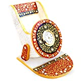 Handicrafts Paradise Marble Mobile Holder with Clock (9.5 cm x 10.9 cm x 10.2 cm),Multicolour
