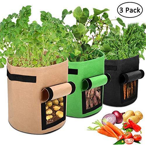 APERIL Pflanzen Tasche, Kartoffel Pflanzsack, Dauerhaft AtmungsaktivBeutel mit Fenster/Klettverschluss/Tragegriffen,3er Pack