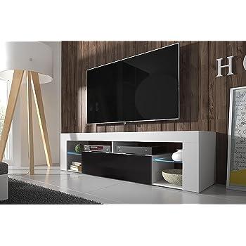 9b3f03db74e0df Edith - meuble TV (140cm, Blanc Mat   Blanc Brillant avec l ...
