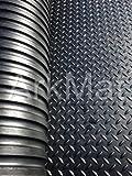 Robuster, großer Gummimatte Checker Plate Kommerzieller Bodenbelag 12mm Garage Gym Parkett Natur