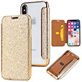 Yobby Etui Portefeuille Glitter pour iPhone XS 5.8 Pouce,Coque iPhone X, Luxe Bling...