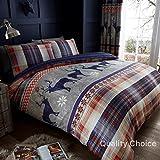 Heritage Stag Bettwäsche mit Rentiermuster, weihnachtliches Bettbezug-Set, blau, King Size