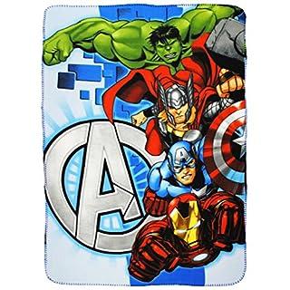 Unbekannt The Avengers  - Fleecedecke / Kuscheldecke - 100 cm * 140 cm - Decke aus Fleece - für Jungen - Schmusedecke - Captain America / Iron Man - Thor Hulk - Acti..