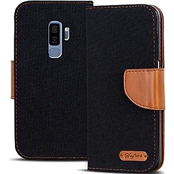 Verco Galaxy S9 Hülle, Schutzhülle für Samsung Galaxy S9 Tasche Denim Textil Book Case Flip Case - Klapphülle Schwarz
