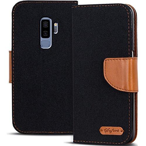 Verco Galaxy S9 Hülle, Schutzhülle für Samsung Galaxy S9 Tasche Denim Textil Book Case Flip Case - Klapphülle Schwarz - Jean-stoff-geldbeutel