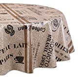 Wachstuchtischdecke OVAL RUND ECKIG Motiv u. Größe wählbar, Tischdecke abwischbar (Rund 140 cm Kaffeebohnen)