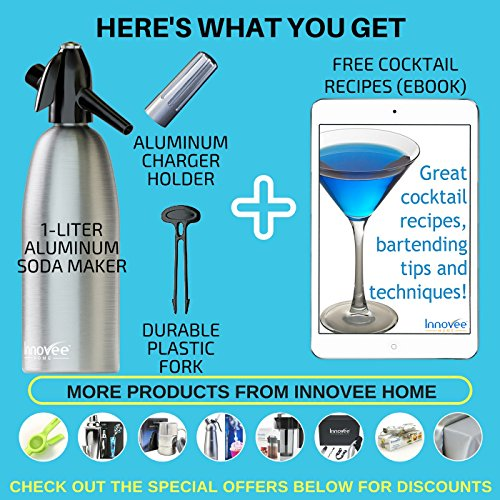 61JXUaR6A8L. SS500  - Nuvantee Soda Siphon – Ultimate Soda Maker - Aluminum – 1 Liter - Make Soda Infusions W/ Free Cocktail Recipes (e-book) - Get Sparkling Water When You Want it - Uses Standard CO2 Charger (not included)