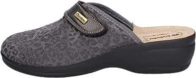 inblu BJ000115 Grigio Ciabatte Pantofole Donna Strappo Regolabile Zeppa 4,5 CM Sottopiede Vera Pelle Soft