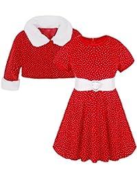 YiZYiF Déguisement Noël Robe Velours Bébé Fille Costume & Cape Vêtement Enfant 12 Mois - 5 Ans