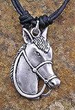 Cornwall Art Prints Zinn Pferd Kopf Anhänger am Band Halskette, Pferd, Pferde -