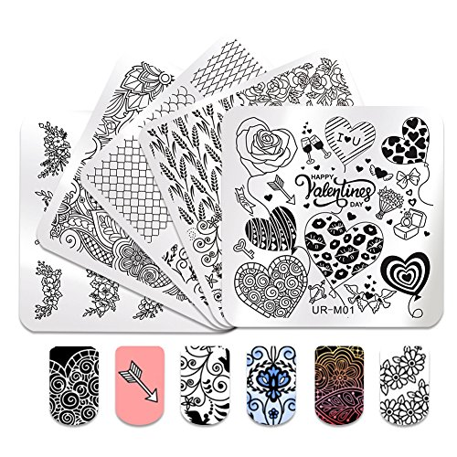 Metall-workstation (coulorbuttons 5 x UR Zucker 6 x 6 cm quadratisch Nail Art Stempel Stamping Schablone Teller Happy Valentine 's Day Celebration Maniküre Nail Art DIY Teller urm01-urm05)
