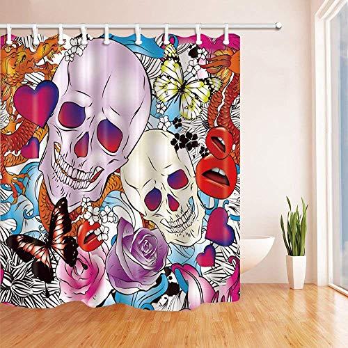 GzHQ Mexikanischer Sugar Skull Deko-Duschvorhang mit Totenköpfen und roten Lippen in Rose Blume mit Schmetterling, schimmelresistent, Stoff, Badevorhang-Set mit Haken, 182,9 x 182,9 cm