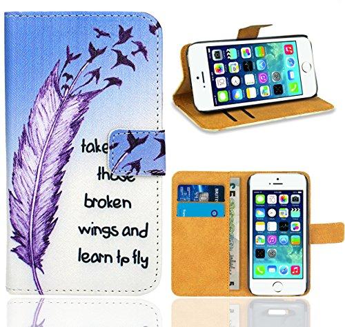 iPhone SE / iPhone 5 5S Housse Coque, FoneExpert Etui Housse Coque en Cuir Portefeuille Wallet Case Cover pour iPhone SE / iPhone 5 5S Color 5