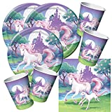 48-teiliges Party-Set Einhorn - Unicorn - Teller Becher Servietten für 16 Kinder