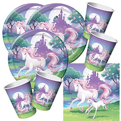 48-teiliges Party-Set Einhorn - Unicorn - Teller Becher Servietten für 16 Kinder