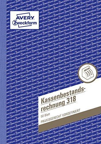 AVERY Zweckform 318 Kassenbestandsrechnung (A5, 50 Blatt) weiß