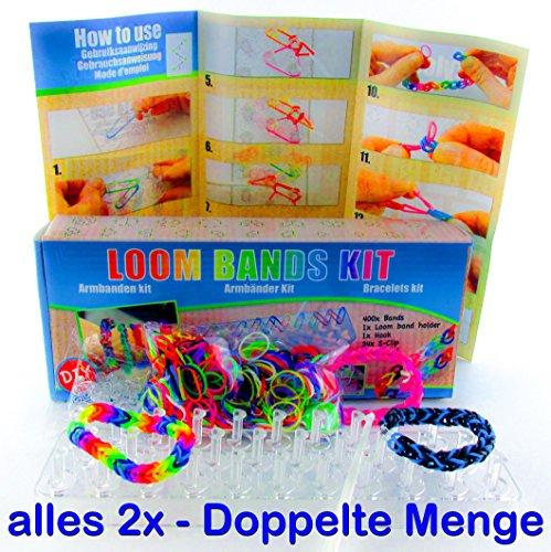 Loom Starterset – Starter Set mit 2 x 400 Loom Bänder Bands Bandz – 2 x 24 S-Haken zum Verschließen – 2 x Webrahmen (Holder) – 2 x Loom Haken (Knüpfwerkzeug) und 2 x Anleitung (Bracelet Maker Kit)
