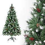 Sunjas Weihnachtsbaum künstlich, 120/150/180/210 cm mit Tannenzapfen, Tannenbaum mit Schnee-Effekt und rote Beere Deko, beschneiten Spitzen und Kunsttanne mit Metallständer (180cm)