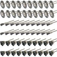 Cnmade Kit de cepillos de limpieza de acero, 60piezas, 3mm, para esmeriladora y herramientas rotatorias de Dremel
