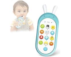 Richgv Movil Bebe, Telefono Juguete, Mando a Distancia Conejo, Teléfono para niños con Luces de Flash, Sonidos y Canciones(Az