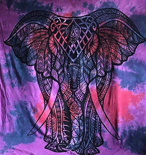 Reina Indian Morado Elefante Diseño psicodélico Tapiz Colgar en la Pared Mandala...