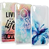 Lanveni Huawei Y6 / Honor 4A (5 Zoll) Hülle × 3, Handyhülle Huawei Y6 Case Etui Protective Case Cover PC Hardcase Plastik Schutzhülle Handytasche mit Bunte Muster Cover Design (Traumfänger + Blau Louts + Rote Meer--liv the life you love)