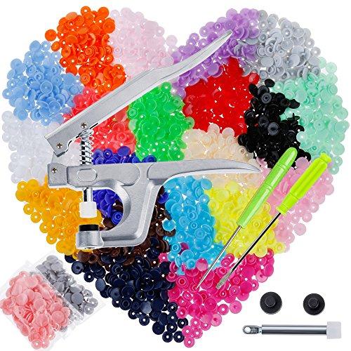 Anpro Pince + Pressions 400 PCS Boutons Pressions de T5-12mm,Pression Kit de Pince Universel en Métal PourT3 T5 T8, Boutons en Plastique Multicolores 20 Couleurs