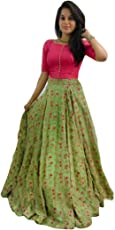 Varudi Fashion Pink & Green Banglori Satin Lehenga Choli For Women (Free Size)
