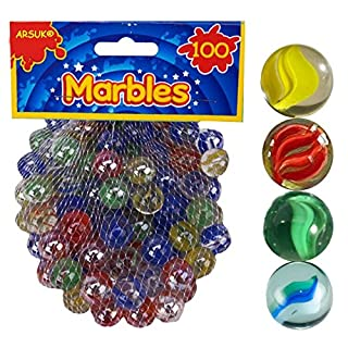ARSUK Coloured Glass Marbles 400pc Kids Traditional Toys Classic Retro Gift Game Party (PACK OF 4)