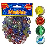 ARSUK Coloured Glass Marbles Kids Traditional Toys Classic Retro Gift Game Party 100pcs