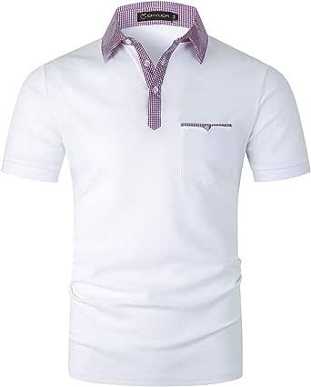 GHYUGR Polo Uomo Manica Corta Cotone Tshirt Scollo a Strisce Lavoro Elegante Magliette Tasca con Bordo Obliquo Camicia