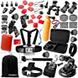 Zookki Essential Ultimate Combo Accessories Bundle Kit for Gopro Hero 4 3+ 3 2 1 Black SIlver Accessory Kit for Gopro 4 3+ 3 2 1 and SJ4000 SJ5000 SJ6000, Sports Camera Accessory Set in Parachuting Swimming Rowing Surfing Skiing Climbing Running Bike Riding Camping Diving Outing Any Other Outdoor Sports
