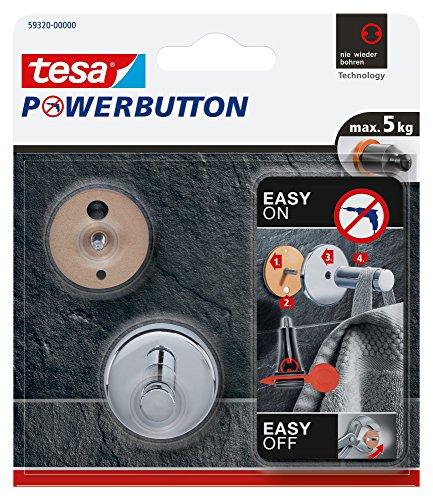 Tesa Powerbutton Haken (Universal Small) silber-glänzend