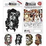 Tattoo Temporär Frau Santa Muerte im Los von 4 Platten mit mannigfaltigen Modellen / Vorteile einer Tätowierung ohne Nachteile