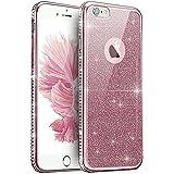 "ikasus® - Carcasa para iPhone 7Plus de 5,5"", silicona, TPU, transparente, piedras brillantes, purpurina, cromada, ultra fina, semi híbrida, flexible, suave, oro rosa, iPhone 7 plus case"