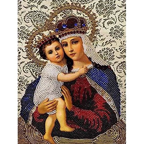5d diy Diamond pintura por número bordado con cuentas Jesús Virgen María Religión cifras Full Mosaic de punto de resina de cristal Needlework, large