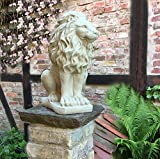Figurines de antikas – Pilier de Figurine Pierre Lion des Animaux – Lion Figurine sculptures en pierre de jardin