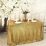 Yzeo Tovaglia a paillettes decorativa 152x 320cm per festa di nozze, eventi, banchetti, Altro, Yellow Gold, 60