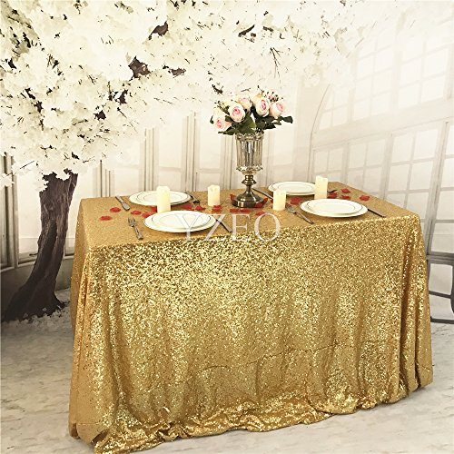 YZEO Gold 125x180cm Pailletten Tischdecke Home Hochzeitsparty Party Weihnachten Bankett Dekoration (Stoff Tischdecke Gold)